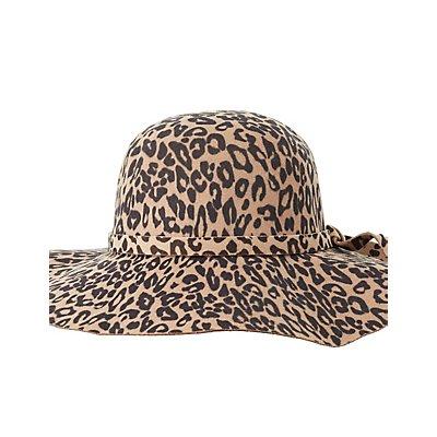 Leopard Print Felt Floppy Hat