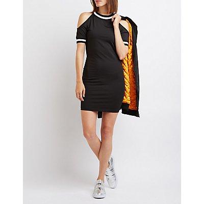 Varsity Stripe Cold Shoulder Dress