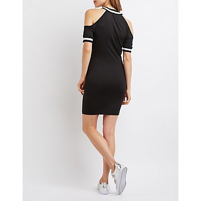 Varsity Stripe Cold Shoulder Dress