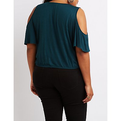 Plus Size Surplice Cold Shoulder Top