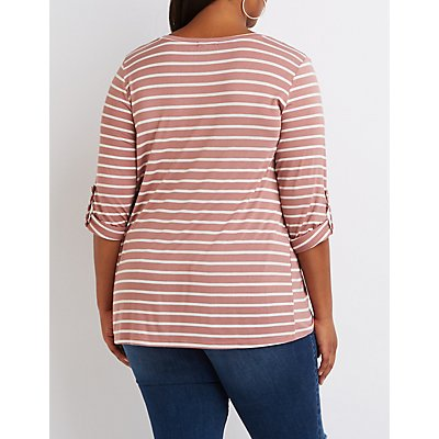 Plus Size Striped Scoop Neck Pocket Tee