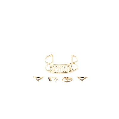 """Gemini"" Astrology Cuff Bracelet & Rings Set"