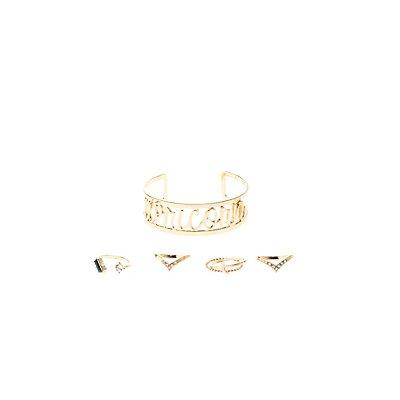 """Capricorn"" Astrology Cuff Bracelet & Rings Set"