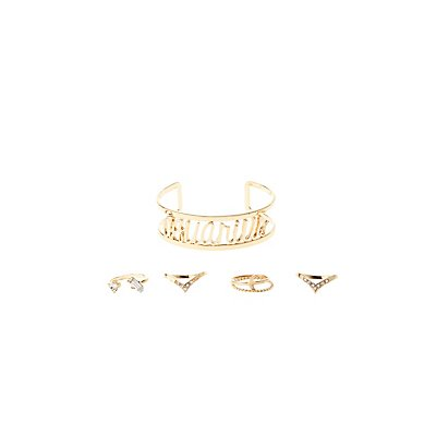 """Aquarius"" Zodiac Cuff Bracelet & Rings Set"