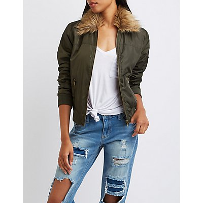 Faux Fur Collar Bomber Jacket