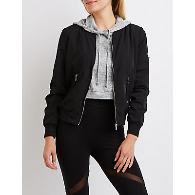 """Literally"" Zip-Up Bomber Jacket"