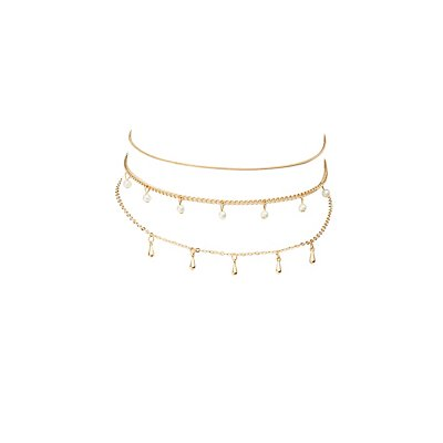 Skinny Chainlink Choker Necklaces - 3 Pack