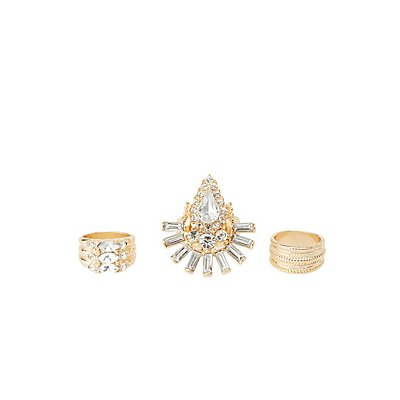 Embellished Statement Rings - 3 Pack
