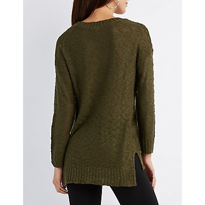 Slub Knit Scoop Neck Sweater