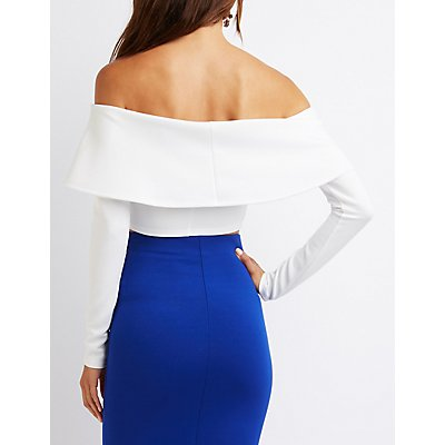 Tiered Off-The-Shoulder Crop Top