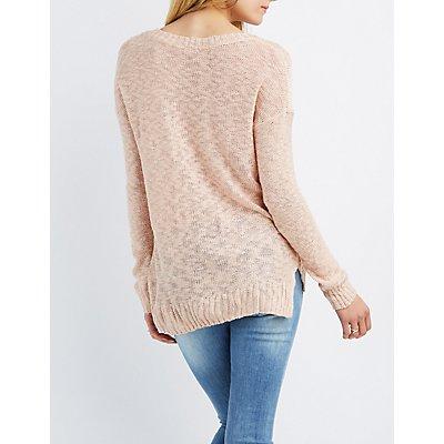 Slub Knit V-Neck Sweater