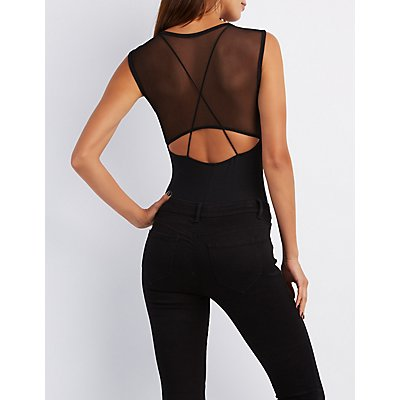 Mesh Bodice Cut-Out Bodysuit