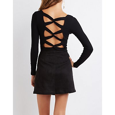 Ribbed Caged-Back Crop Top