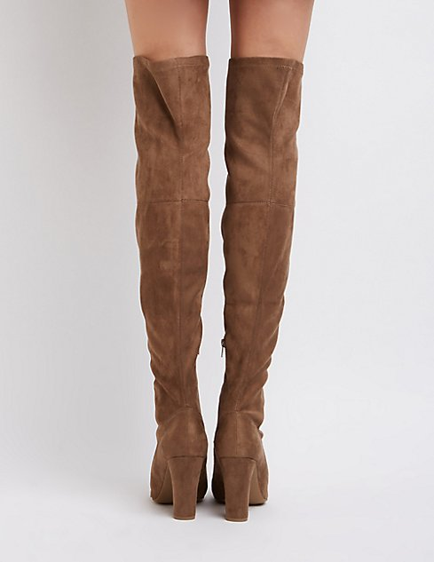 Lace-Up Faux Suede Over-The-Knee Boots | Charlotte Russe
