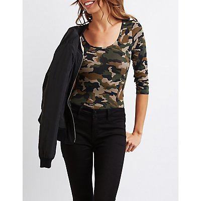 Camo Scoop Neck Bodysuit