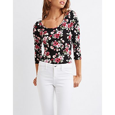 Floral Scoop Neck Bodysuit