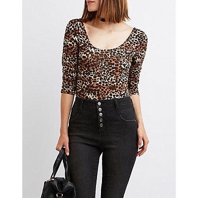 Leopard Scoop Neck Bodysuit