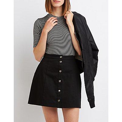 Striped & Ribbed Mock Neck Bodysuit
