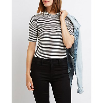 Striped & Ribbed Mock Neck Bodysuit
