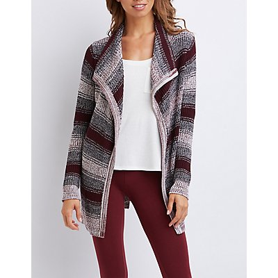 Striped Cascade Belted Cardigan