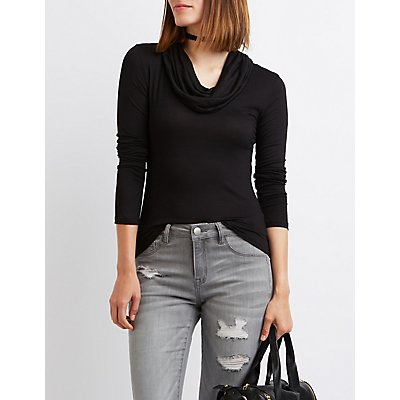 Cowl Neck Fitted Top