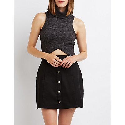 Cowl Neck Wrapped Crop Top
