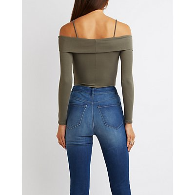 Ribbed Cold Shoulder Fitted Top
