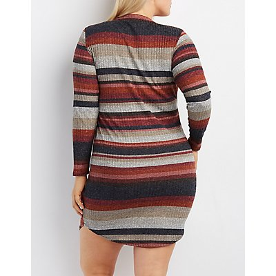 Plus Size Striped Cut-Out Mock Neck Dress