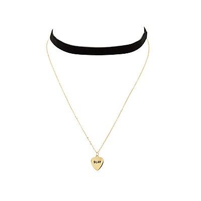 Charm Necklace & Velvet Choker - 2 Pack