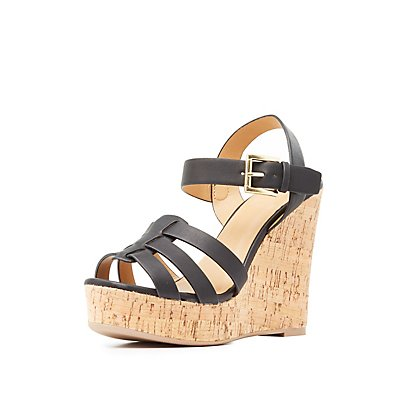 Huarache Cork Wedge Sandals