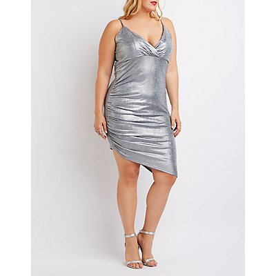 Plus Size Shimmer Asymmetrical Bodycon Dress