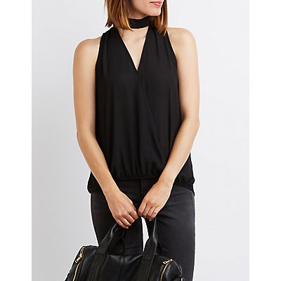 Mock Neck Surplice Top