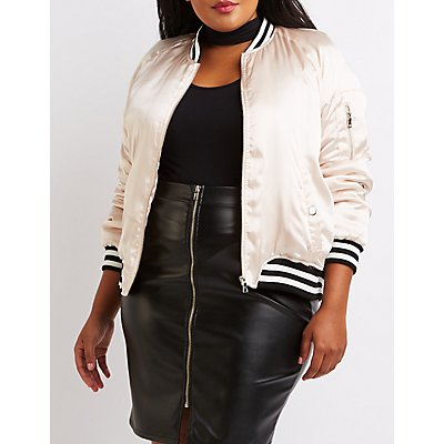 Plus Size Satin Varsity Stripe Bomber Jacket