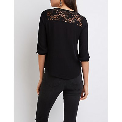 Lace-Back Blouse