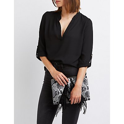 Mandarin Split Collar Blouse