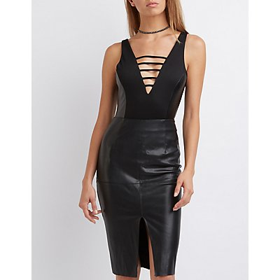 Faux Leather-Trim Caged Bodysuit