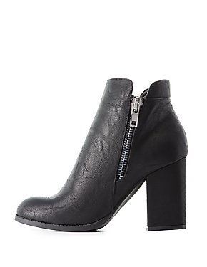 Zipper-Trim Ankle Booties