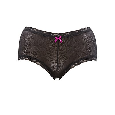 Plus Size Mesh Lace Cheeky Panties