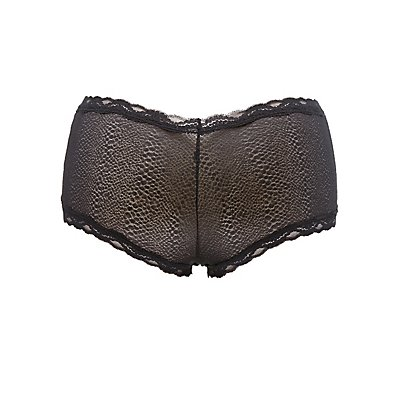 Plus Size Mesh Lace Cheeky Panties
