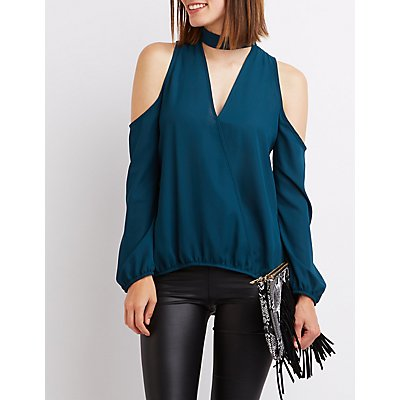 Choker Detail Cold Shoulder Top