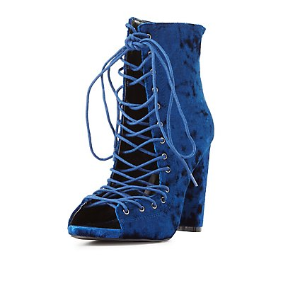 Velvet Lace-Up Peep Toe Booties