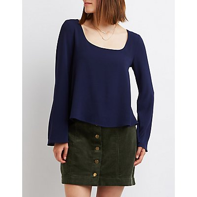 Caged Bell Sleeve Blouse