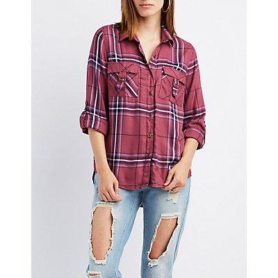 Plaid D-Ring Pocket Button-Up Shirt