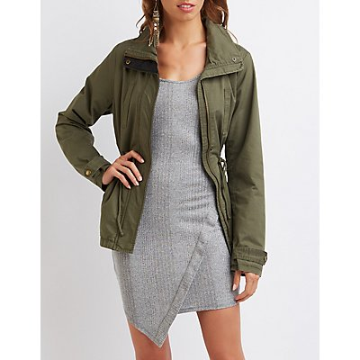Faux Leather-Trim Anorak Jacket