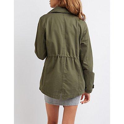 Faux Leather-Trim Anorak Jacket