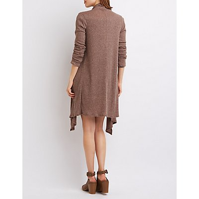 Ribbed Waterfall Longline Cardigan
