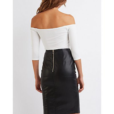 Off-The-Shoulder Notched Top