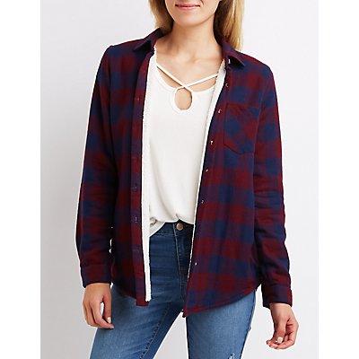 Fleece Lined Flannel Button-Up Shirt