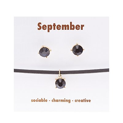 September Birthstone Choker Necklace & Earrings Set