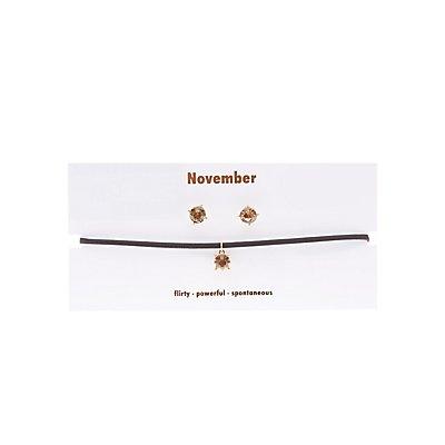 November Birthstone Choker Necklace & Earrings Set